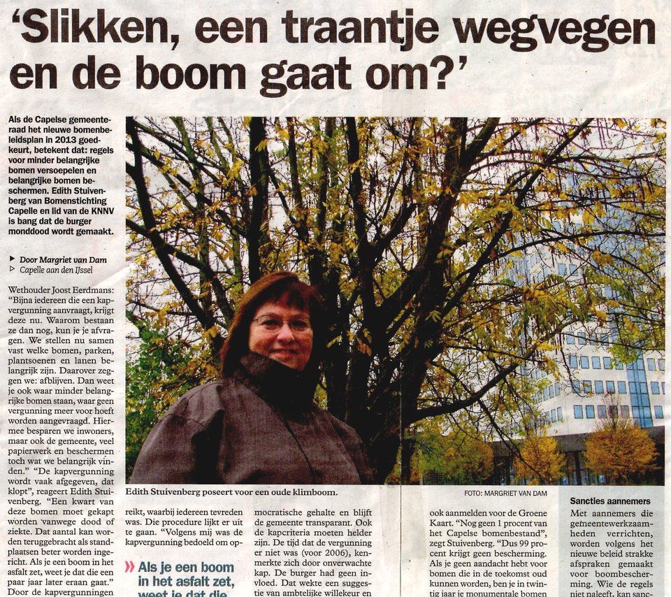 IJssel- en Lekstreek woensdag 21-11-2012 bomenbeleidsplan Capelle aan den IJssel bomen straks veel minder beschermd stichting De Bomenridders Rotterdam