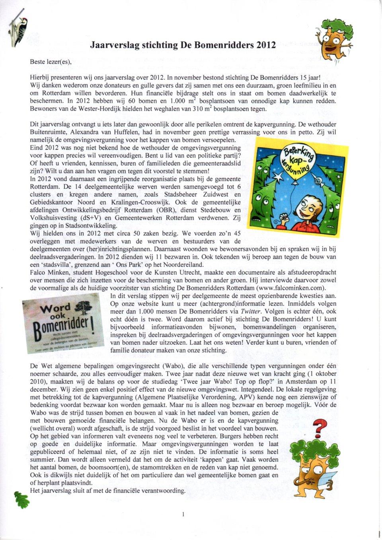 Jaarverslag 2012 stichting De Bomenridders Rotterdam
