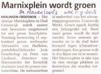 Marnixplein wordt groen dichtbij 11-9-2013 stichting De Bomenridders Rotterdam