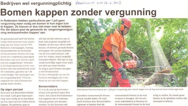 Feitelijk onjuiste en onduidelijke informatie van de gemeente Rotterdam over het kappen van bomen en de vigerende regels ten aanzien van bomen stichting De Bomenridders Rotterdam